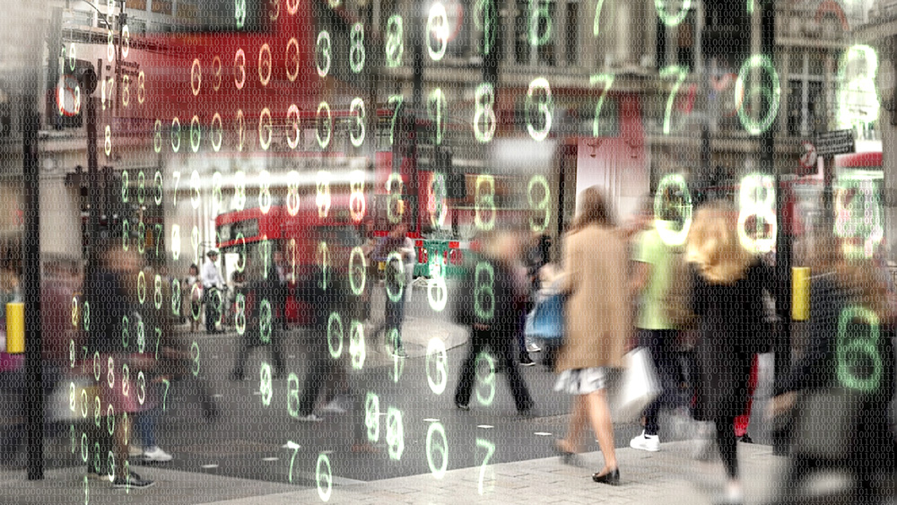 Shoppers made from binary code.